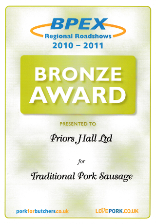 BPEX Bronze Award for Traditional Pork Sausages 2010-2011