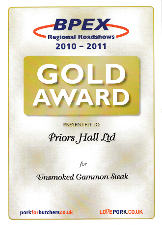 BPEX Gold Award for Unsmoked Gammon Steak 2010-2011